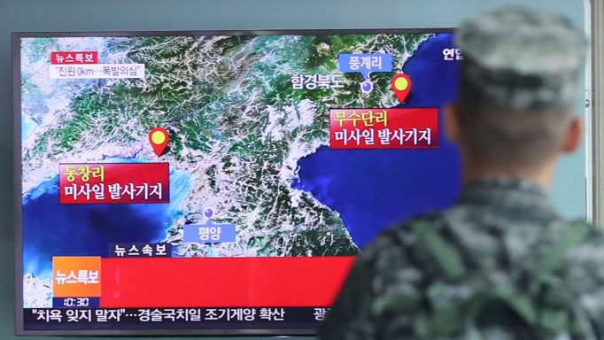 A South Korean soldier watches a TV broadcasting a news report on Seismic activity produced by a suspected North Korean nuclear test, at a railway station in Seoul, South Korea, September 9, 2016.   Kim Ju-sung/Yonhap via REUTERS   ATTENTION EDITORS - THIS IMAGE HAS BEEN SUPPLIED BY A THIRD PARTY. SOUTH KOREA OUT. FOR EDITORIAL USE ONLY. NO RESALES. NO ARCHIVE.     TPX IMAGES OF THE DAY