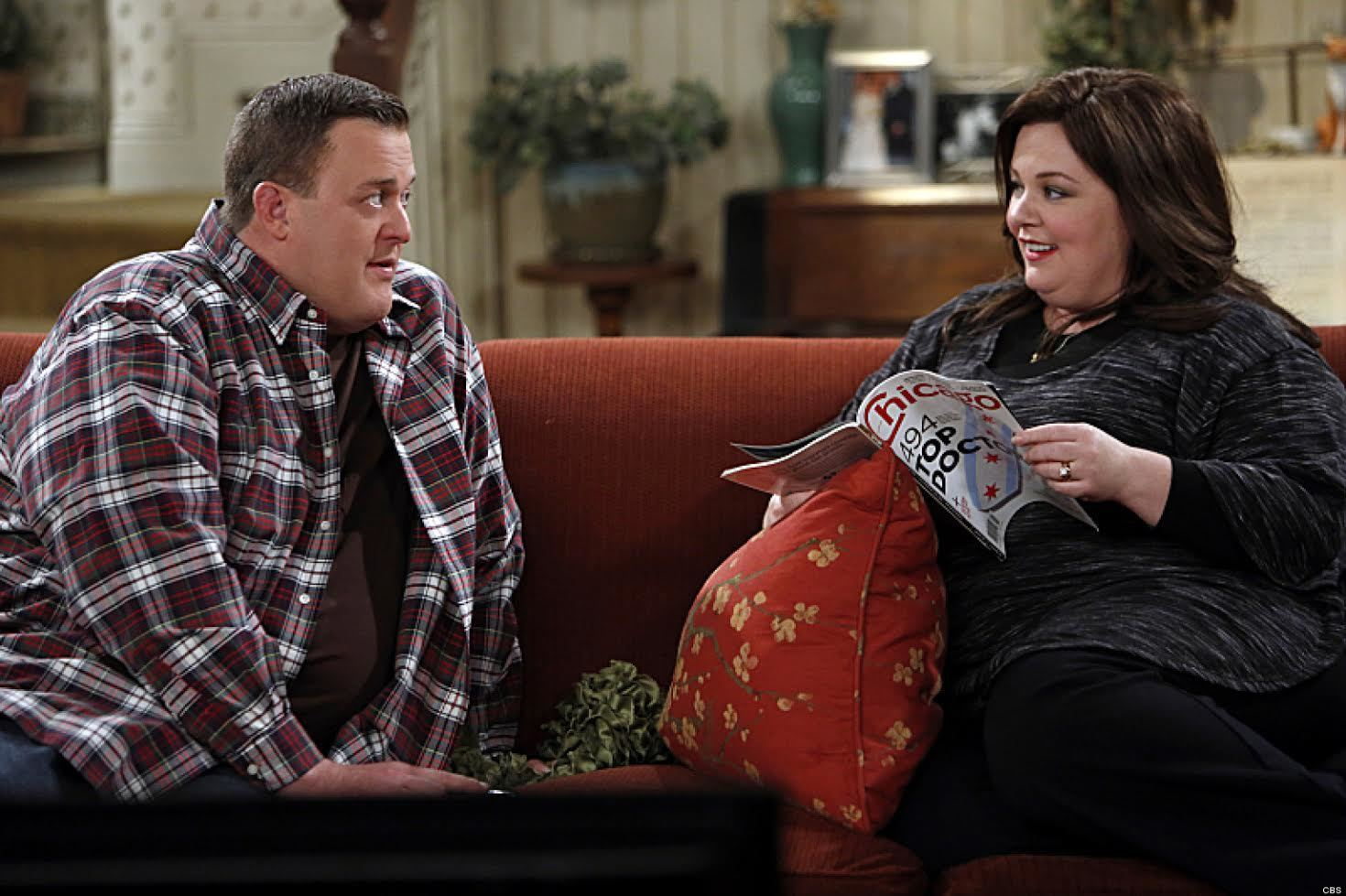 """Mike the Tease"" -- Mike studies male fertility and visits a clinic to ensure that his swimmers are up to the task of starting a family with Molly. Meanwhile, Vince gets a new job selling vacuum cleaners door-to-door, on MIKE & MOLLY, Monday, Feb. 18 (9:30-10:00 PM, ET/PT) on the CBS Television Network. Pictured L-R: Bily Gardell as Mike and Melissa McCarthy as Molly Photo: Cliff Lipson/CBS �©2013 CBS Broadcasting, Inc. All Rights Reserved."