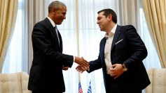 U.S. President Barack Obama shakes hands with Greek PM Tsipras during their meeting at Maximos Palace in Athens